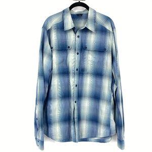 NAU Blue Plaid Button Down Casual Long Sleeve Top